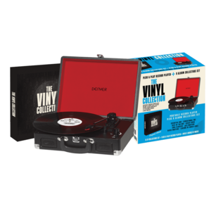 The Bellevue Vinyl Collection Record Player Black [Includes 8 Vinyl Albums]