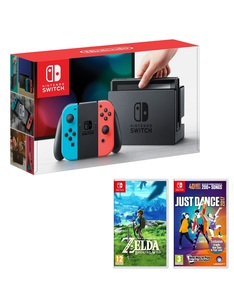 Nintendo Switch 32GB Console with Neon Joy-Con Controller + Legend of Zelda: Breath of the Wild + Just Dance 2017