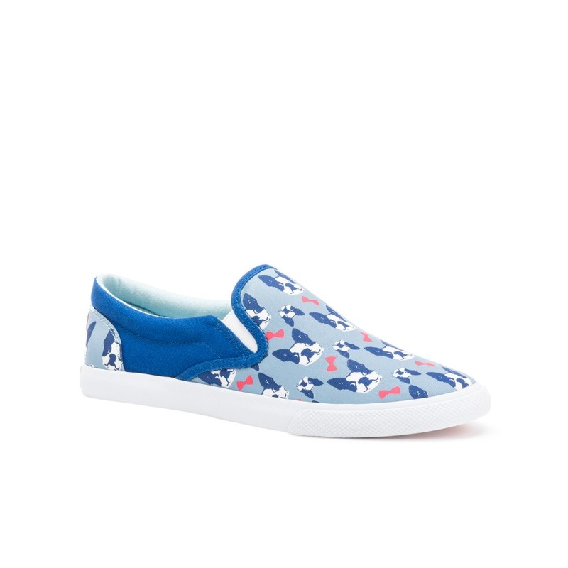 Bucketfeet The Perfect Gentleman Light Blue/Navy Low Top Canvas Slip On Women'S Shoes Size 9