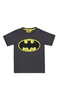 DC Comics Batman Logo Vintage Wash Charcoal Boys T-Shirt