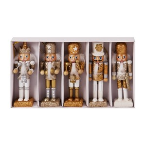 Santa Express Golden Nutcracker Style Figurines Gold/Sil [Set Of 5]