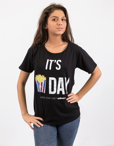 Foy Paris It's Frites-Day Boyfriend Black T-Shirt