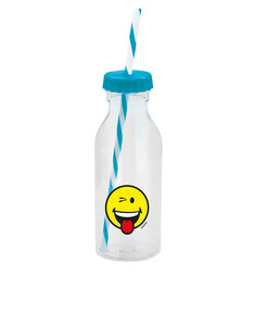 Smiley Emoticon Wink Aqua Blue Bottle with Straw