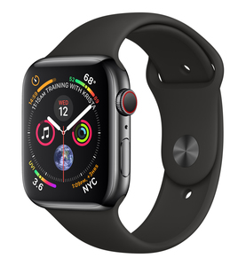 Apple Watch Series 4 GPS +Cellular 44mm Space Black Stainless Steel Case with Black Sport Band