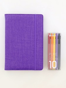 Kaco Memory Purple A5 Notebook With Folder & Pure Soft Touch Gel Pen [10 Piece]