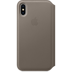 Apple Leather Folio Case Taupe for iPhone X