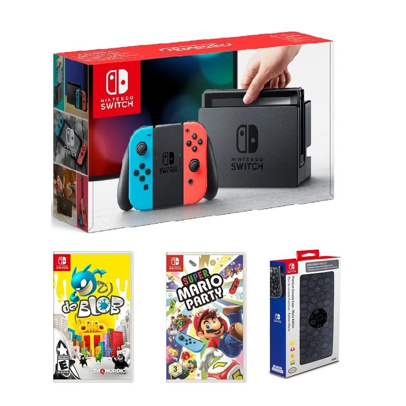 Nintendo Switch Neon Joy-Con [US] + Super Mario Party + de BLOB + Mario  Edition - Premium Console Case