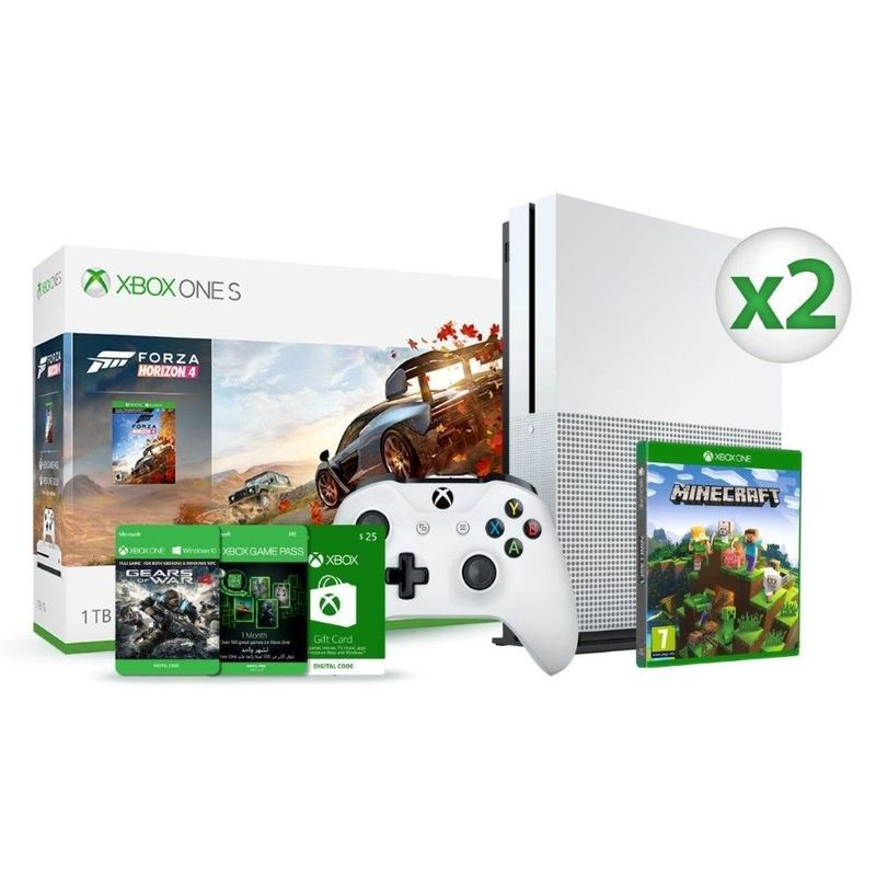 Xbox One S 1TB Forza Horizon 4 + Wireless Controller + Minecraft Basics +  Gears Of War DLC + 1 Month Game Pass + USD 25 Gift Card Duo Bundle