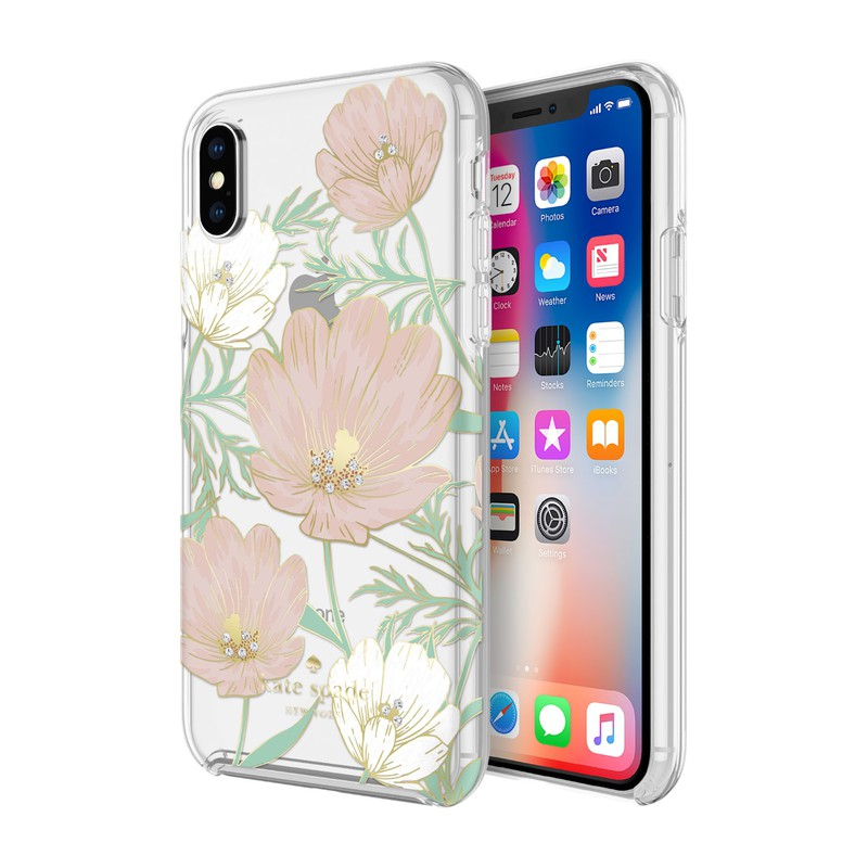 super popular 2d7c8 3f05f Kate Spade NY Large Blossom Hardshell Case Multi/Gold Foil With Gems for  iPhone X