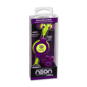 Retrak Neon Sports Purple & Yellow Earphones
