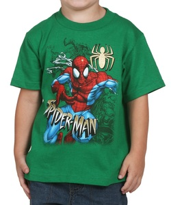 Spiderman Run From Foes Kelly Green Boys T-Shirt
