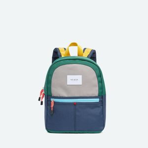 State Bags Mini Kane Green/Navy Coated Canvas Backpack