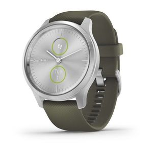 Garmin vivomove Luxe 42mm Silver Aluminium Case with Moss Silicone Band Smart Watch