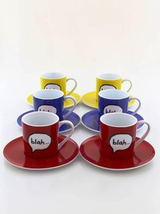 Rosanna Espresso Cups + Saucers Blah Blah 80cc [Set of 6]