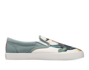 Bucketfeet Jurassic Rodeo Natural/Grey Low Top Men's Canvas Slip-Ons
