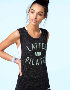 Hey Holla Lattes & Pilates Drop Armhole Tank Top