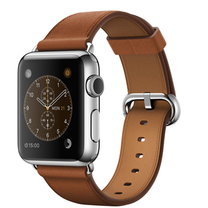 Apple Watch 38mm Stainless Steel Case With Saddle Brown Classic Buckle