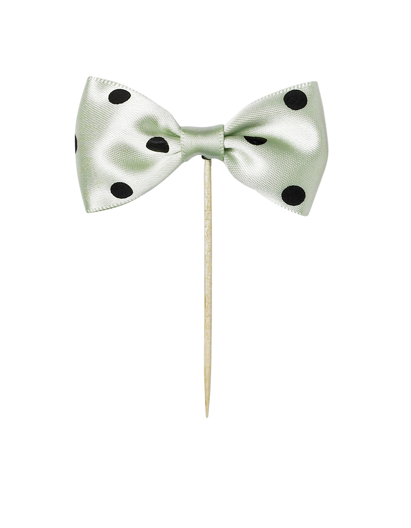Miss Etoile Light Green Bow With Dots Cake Topper