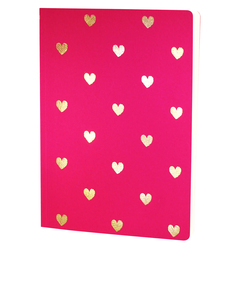 Go Stationery Shimmer A5 Notebook Small Gold Hearts Magenta