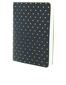 Go Stationery Shimmer A6 Notebook Small Gold Polka Navy