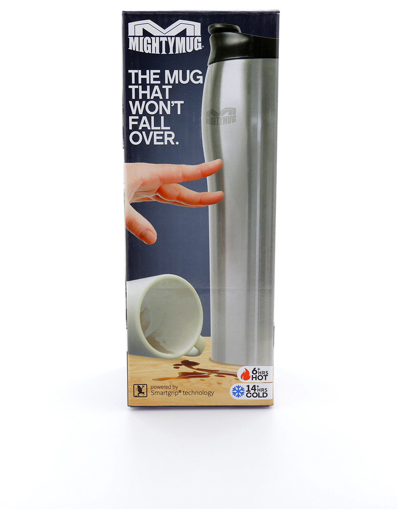 Mighty Mug Go Stainless Steel Silver 16Oz 0.47 Ltrs Silver