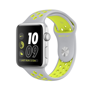 Apple Watch Nike+ 42mm Sport Band Flat Silver/Volt Silver Aluminium Case