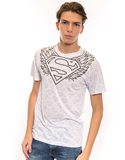 Superman Winged Sheild Repeat White Poly Crew Men'S Tshirt Xl