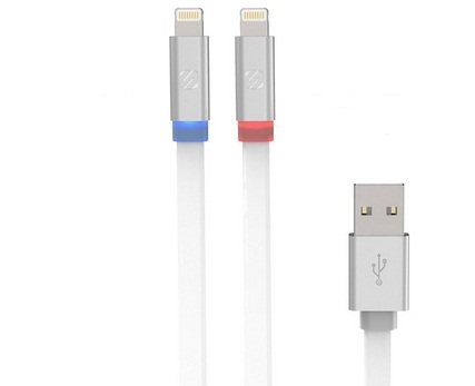Scosche Flatout Led Lightning Charge/Sync 6Ft Cable White