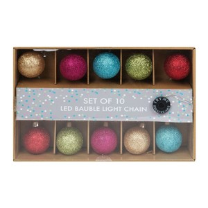 Santa Express Glass Multi Coloured Bauble LED Light Chain [Set of 10 ]