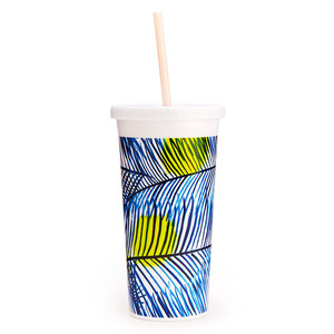 Ban.do Sip Sip Tumbler W/Straw Holiday Palms