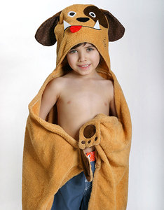 Zoocchini Duffy The Dog Brown Kids Hooded Towel