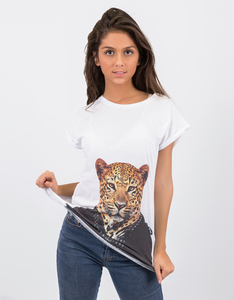 Saint Noir Leopard Rolled Sleeve White T-Shirt