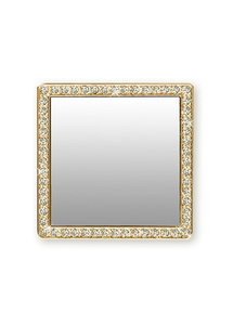 iDecoz Gold Square with Crystals' Mirror for Smartphones