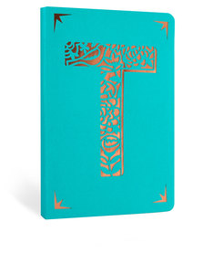 Portico Design T Monogram Turquoise A6 Notebook