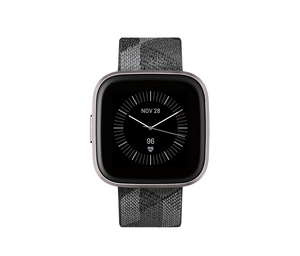 Fitbit Versa 2 Special Edtion NFC Smoke Woven Band Mist Grey Aluminum Case Smart Watch