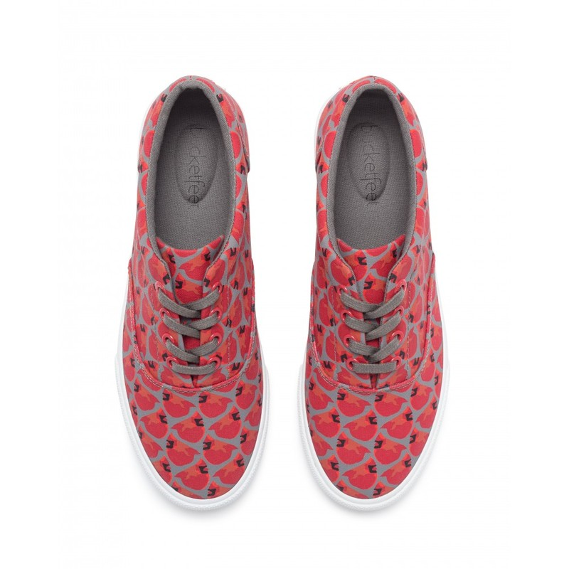 Bucketfeet Cardinals Red/Charcoal Low Top Canvas Lace  Women'S Shoes Size 7
