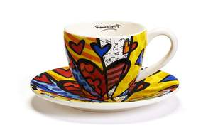 Romero Britto Tea Cup & Saucer Set A New Day Coffee Cup