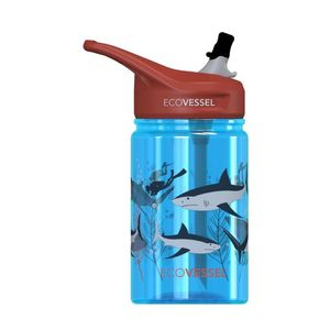 EcoVessel Scout Kids Water Bottle With Flip Straw Shark 350 ml