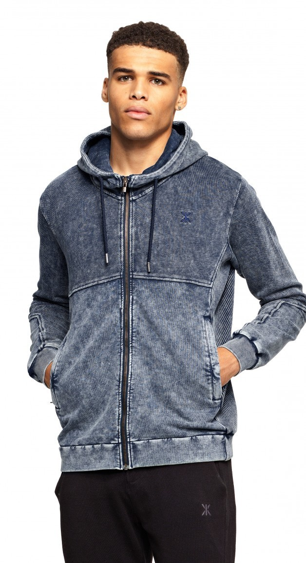 Berzerk Zip Unisex Hoodie Midnight Blue Washed Xl