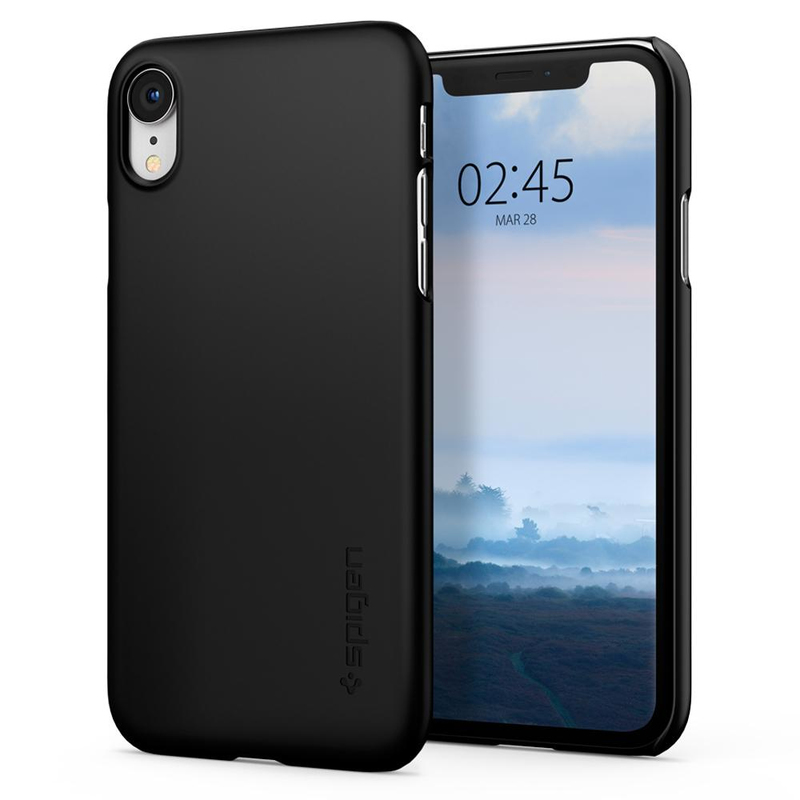 new product ff808 3c421 Spigen Thin Fit Black Case for iPhone XR