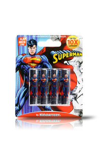 Kids Battery Superman 4X AA/LR6 Alkaline Batteries