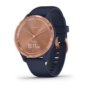 Garmin vivomove 3S 39mm Rose Gold Stainless Steel Bezel with Navy Case and Silicone Band Smart Watch