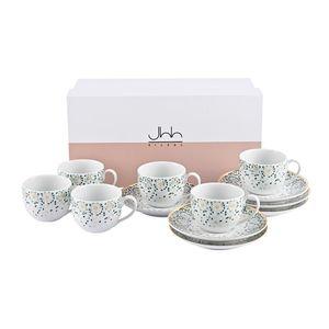 Silsal Mirrors Turkish Coffee Cups Emerald in Gift Box [Set of 6]