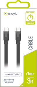 Muvit Tabflat Type-C To Type-C Cable 3A USB 2.0 1M Black