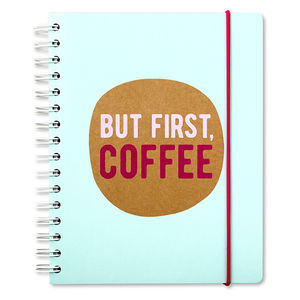 Go Stationery But First Coffee Kraft Typo A5 Tabbed Notebook