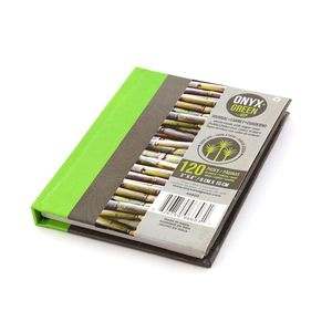 Onyx & Green Pocket Hard Cover Journal Notebook 64 Sheets of Sugar Cane Paper RuLED 3 x 4 Inches