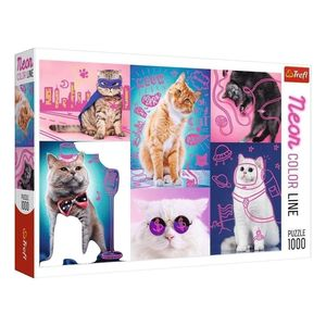 Trefl Neon Color Line Awesome Cats Jigsaw Puzzle [1000 Pcs]