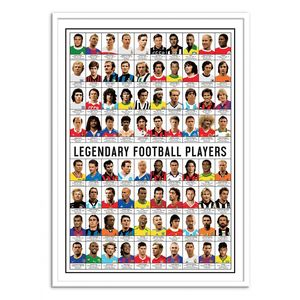 Legendary Football Players Art Poster By Olivier Bourdereau [50 x 70 cm]