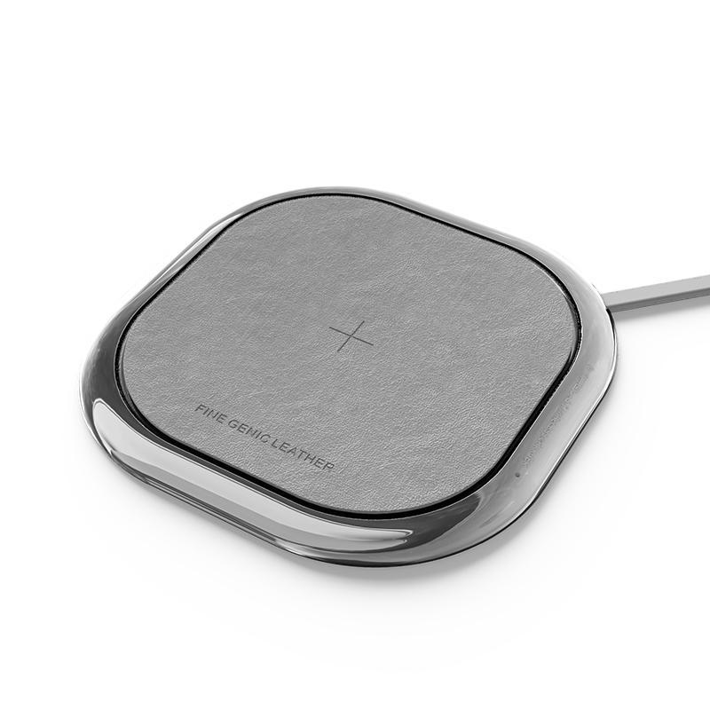Mipow POWER XCUBE Slim Leather Grey Qi Fast Wireless Charging Pad