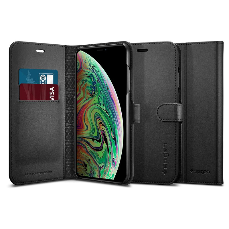 6ac2147f117a ... Spigen Wallet S Black Case for iPhone XS Max ...